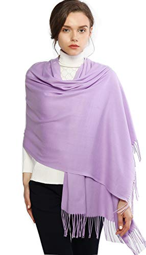 Cashmere Winter Warm Scarf Pashmina Shawl Wrap for Women and Men Lavender Long Large Soft Scarves