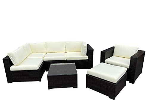 Astbury 6 Seat 7 piece Modular Corner Rattan Sofa Garden Furniture Patio Set with Chair, Stool and Coffee Table Wicker Weave Brown