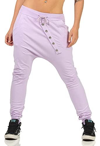 Malito Damen Sweathose in Unifarben   Baggy zum Tanzen   Jogginghose mit Knopfleiste   Sweatpants - Trainingshose 8023 (Flieder)
