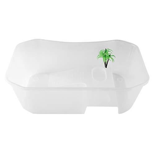 Kunststoff-Aquarium, leichte und tragbare transparente offene Turtle Tank mit Trocknungsplattform für Turtle Reptile(#3)