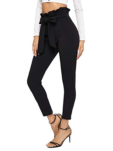 Floerns Women's Stretchy Workwear Office Skinny Pants with Belt Black M