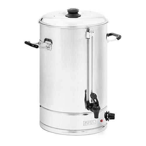 Royal Catering - Wasserkocher Heißwasserspender (40 Liter, ca. 223 Tassen, 42 x 46 x 54 cm, 3.000 W, 100 °C, Edelstahl) Silber