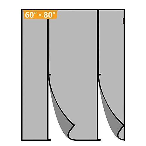 Yotache Magnetic Screen Door Fits Door Size 60 x 80, Double Door Screen Curtain for Sliding Door Fit Doors Size Up to 60'W x 80'H Max