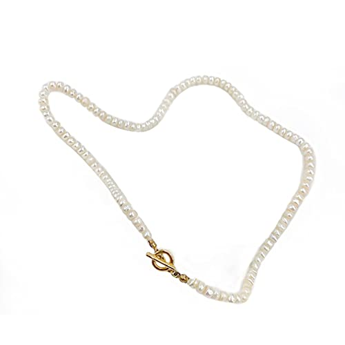 SeniorMar-UK Collar de Perlas cultivadas de Agua Dulce Blancas para Mujer Collar de Perlas cultivadas de Agua Dulce seleccionadas a Mano Hebra Blanca 36cm