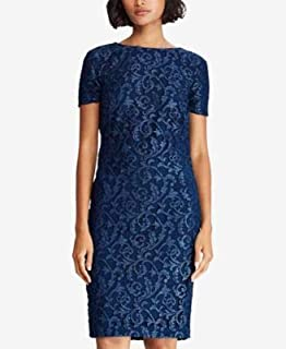 RALPH LAUREN Womens Blue Lace Short Sleeve Boat Neck Knee Length Sheath Cocktail Dress US Size: 6