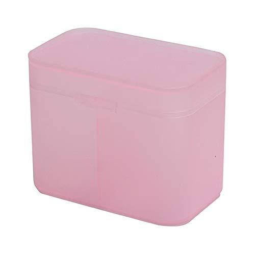 dailymall Organizador de Plástico Soporte Esponja de Algodón Toallas para Uñas Almohadillas de Maquillaje Almacenamiento Claro - Rosado