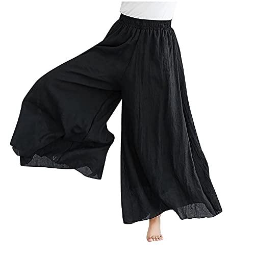 TDEOK Damen einfarbig Leinen große Putty Hakama Damen Sommermode doppellagige Stretch-Taille Leinenhose Culottes