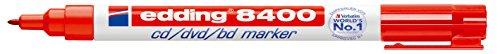 Edding 8400 - Rotulador para CD/DVD, trazo de 0.5-1 mm, color rojo