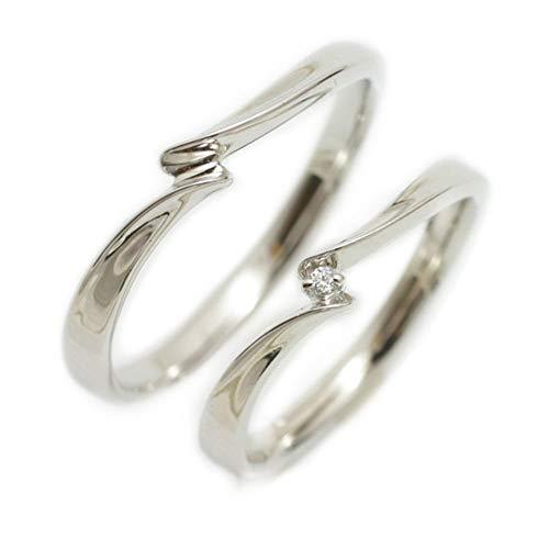 [ココカル]cococaru ペアリング 2本セット シルバー マリッジリング 結婚指輪 ダイヤモンド 日本製(レディースサイズ14号 メンズサイズ20号)