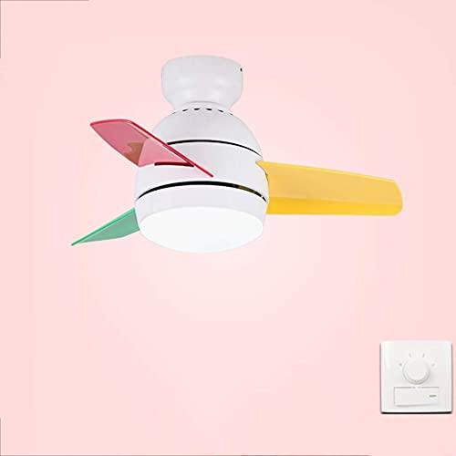 JKYP Ventilador de techo con luz y mando a distancia Ventilador de techo, hierro para sala de estar, comedor, dormitorio, lámpara simple (26 pulgadas, 36 pulgadas) (color C)