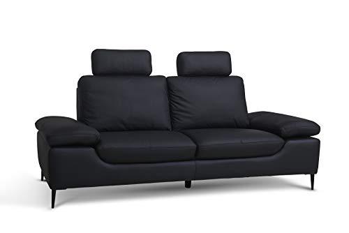 Furnhouse Modern Skandinavisch Italienisches Design Vintage Wohnzimmer Leder 3-Sitzer Sofa Viktor, Schwarz Metall Beine, L217xB47xH105 cm Ledersofa, PVC, Black, 3 Seater