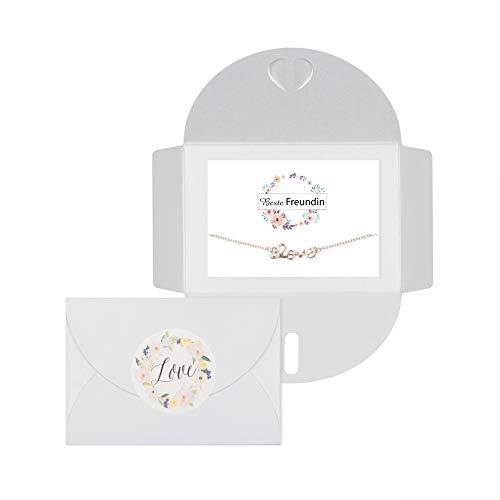 Lillyville - Geschenk für Beste Freundin mit Love Armband Rosegold mit Karte - Beste Freundin - süßes Freundinnen Geschenk, Freundschaftsarmbänder - Umschlag Weiß
