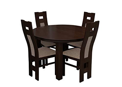 Mirjan24 Esstisch Stuhl Set RB36 Essgruppe, Tischgruppe, Sitzgruppe Esstischgruppe, Esszimmergarnitur (Nuss, Lawa 02)