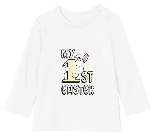 Mon 1er Pâque T-Shirt Bébé Unisex Manches Longues 12-18M 76/89cm Blanc
