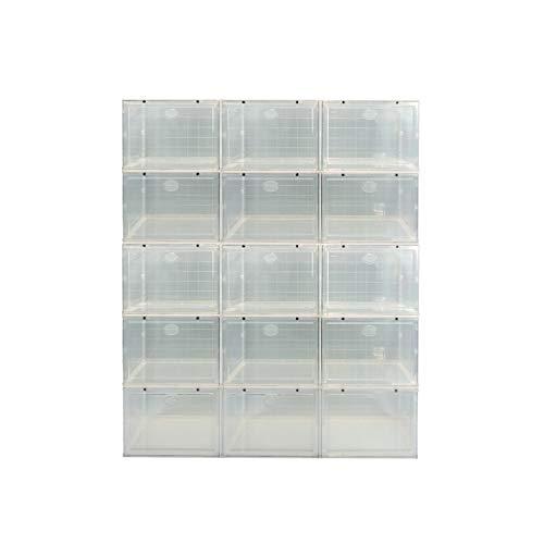 ZINNZ SELECTED schoenenbox, stapelbare schoenenorganizer, kunststof box met doorzichtige deur, schoenenopberger, eenvoudige montage, transparant