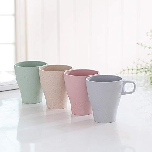 IMODE Öko Bambus Kaffeetasse ohne Melamin - leicht und robust als Tee Camping oder Kinderbecher - 4er Set grün blau beige rosa BPA frei spülmaschinenfest