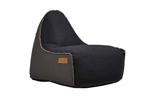 SACKit - RETROit Canvas Black/Dark Brown - Indoor Sitzsack mit Lehne und Füllung mit EPS Kugeln für eine optimalen Sitzkomfort - Großer Sitzsacke für Erwachsene