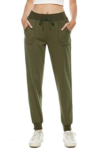 AvaCostume Women's Cotton Stretch Active Jersey Jogger Pants with Pockets ArmyGreen M