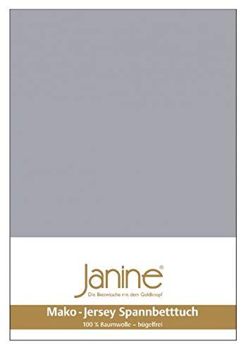 Janine 5007 - Lenzuolo con angoli elasticizzati in jersey makò 90/190 fino a 100/200 cm, colore: Platino