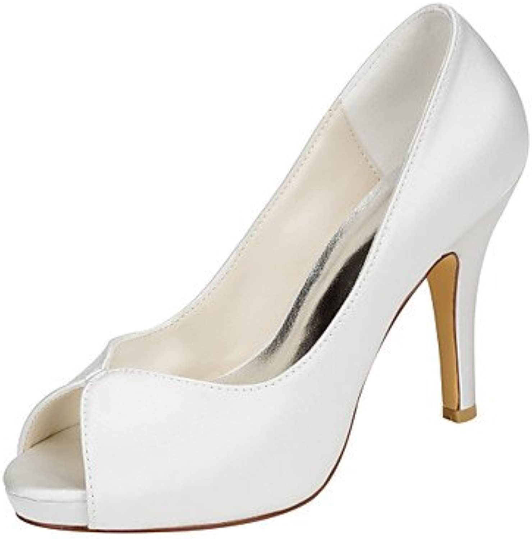 LvYuan-ggx Damen High Heels Pumps Stretch - Satin Sommer Kleid Party & Festivitt Pumps Stckelabsatz Elfenbein 10 - 12 cm