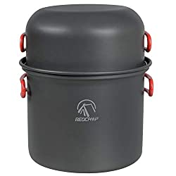 Image of REDCAMP 9/12/18/23 PCS Camping Cookware Mess Kit, Aluminum Lightweight Folding Camping Pots and Pans Set for 1/2/3/4 Person, FDA Approved: Bestviewsreviews