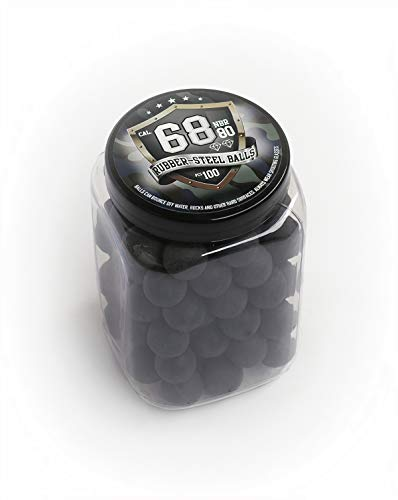 100x Premium Quality Hard Rubber Steel Balls Paintballs Powerballs 7 gr. Heavy Ammunition for Training Shooting Self and Home Defense Pistols in 68 Caliber