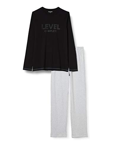 Schiesser Jungen Schlafanzug lang Pyjamaset, schwarz, 164