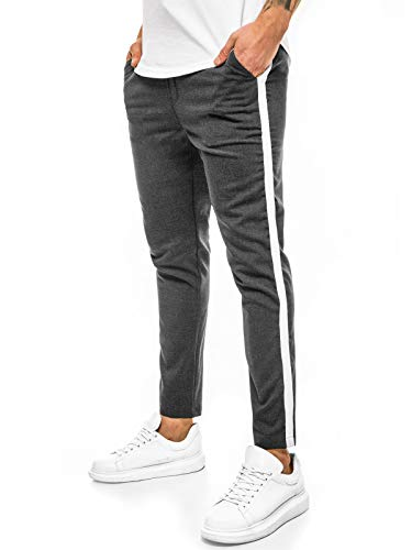 OZONEE Herren Chino Hose Chinos Stoffhose Chinohose Anzughose Anzug Herrenhose Röhrenhose Pants Elegant Business Slim Fit Regular Klassisch Classic Basic DJ/5529 DUNKELGRAU W33