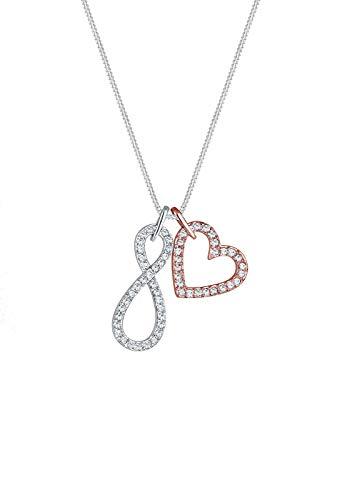 Elli Cadena con colgante de corazón para mujer, plata 925 parcialmente chapada en oro, cristal blanco, talla redonda, 45 cm - 0102280717_45