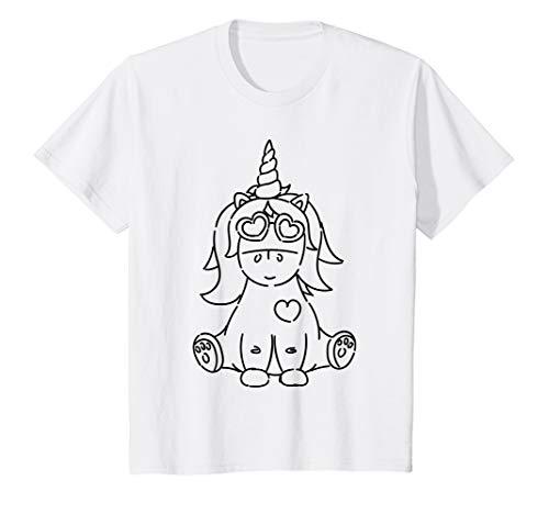 Kinder Cooles Einhorn mit Sonnenbrille, Motiv zum Bemalen, Unicorn T-Shirt