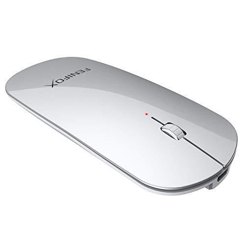 FENIFOX Kabellose Maus, Bluetooth Dünn Klein Slim Wiederaufladbare, Mäuse bloothooth schnurlose kompatibel mit Allen Bluetooth-Geräten, Geeignet für Reisen Geschäftsreise (Silber)