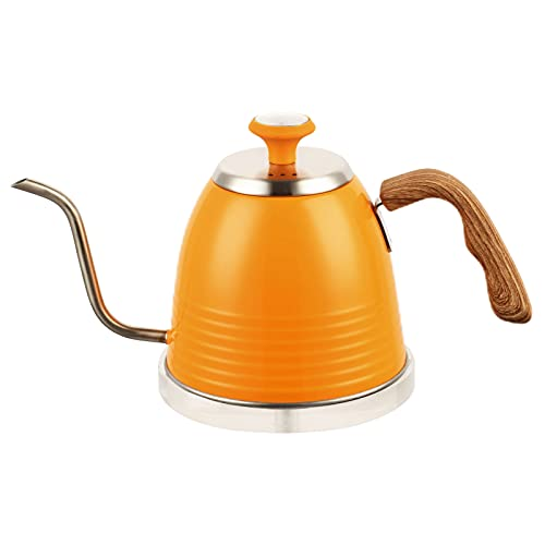 Gooseneck Kettle - Stainless Steel Pour Over Coffee & Tea Kettle with Thermometer for Exact Temperature - Kitchen Appliances & Dorm Essentials(Orange)