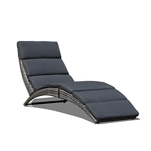 JOIVI Patio Chaise Lounge Chair, Outdoor Sun Lounger, PE Rattan Foldable Chaise with Removable Dark Gray Cushion, Suitable for Poolside, Garden, Balcony