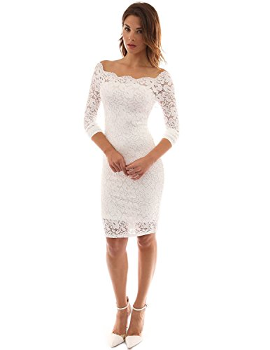 Imixcity Femmes Dentelle Off Shoulder Robe Chic Dress Courte de Crayon de Soirée Bodycon Cocktail, Blanc, M: 38/40