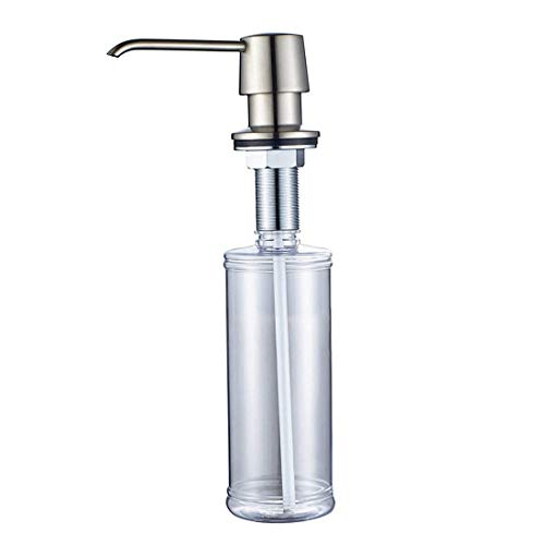 Fapully Commercial Bathroom Brushed Nickel Deck Mount Kitchen Under Sink Liquid Dish Soap and Lotion Dispenser,Countertop in Counter Kitchen Soap Dispenser