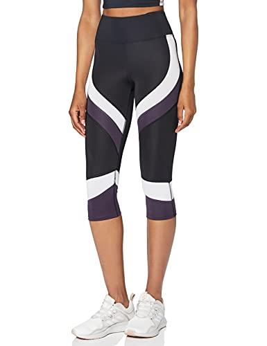 Marca Amazon - AURIQUE Mallas de Deporte Combinadas Cortas Mujer, Negro (Black/White/Nightshade), 40, Label:M