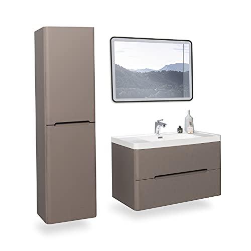 GOOM Conjunto de muebles de baño, lavabo con mueble bajo, espejo de baño LED opcional y mueble lateral. Lavabo con mueble bajo. Dimensiones: 600, 900, 1200mm. También como lavabo doble con mue