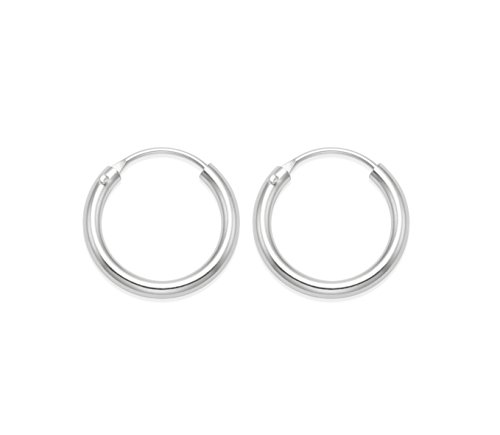 Sterling Silver 10 mm SMALL hinged Hoop Earrings 10mm x 1.4mm - Beware 10mm is SMALL & FIDDLY to use (easier if you insert from the back). Gift boxed. SEE OTHER PHOTOS TO AVOID DISAPPOINTMENT 6224