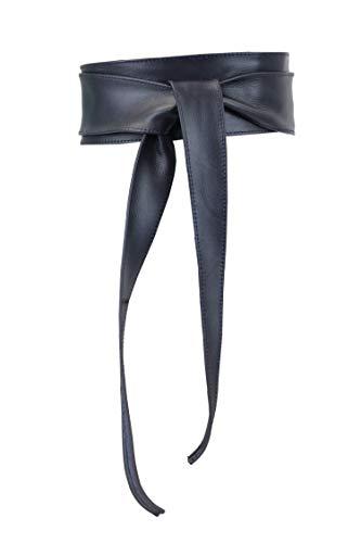 irisaa Cinturón de piel para mujer, ancho, Obi, cinturón envolvente, cinturón de piel auténtica, cinturón de cadera, cinturón de fiesta, cinturón de Italia, azul marino, Talla única
