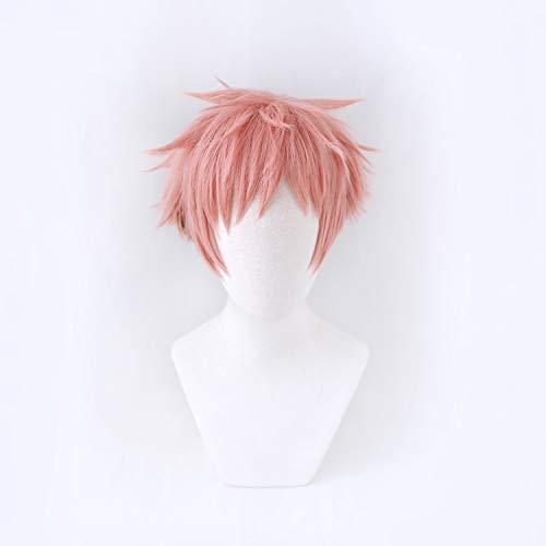 LZT Kurzhaarperücke, flauschige rosa Farbverlauf, schwarz, Anime, Jujutsu Kaisen, Yuji Itadori, Cosplay-Perücke, modische Haarperücke für Männer und Jungen
