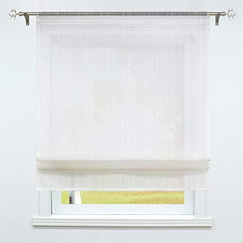 SCHOAL Raffrollo Küche Raffgardine mit Tunnelzug Bändchenrollo Weiß Leinen Gardinen Modern Vorhänge BxH 100x155cm 1 Stück