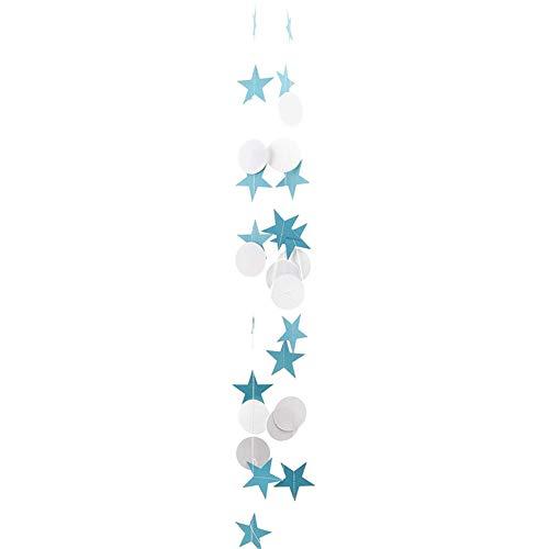ppactvo Sterngirlande Girlande Schwalbenschwanz Hängende Dekoration Dekorations-Kit Kreis Papier Bunting Dekoration Glänzender Goldbrief Funkelnde Runde Blue