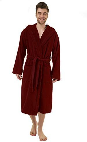 Bathrobe Men Dressing Gown Hooded Towelling Terry Cotton Long Bath Robe Shawl with Pockets Winter Warm Fluffy Housecoat Absorbent Towelling with Hood Calf Length Robe Coat Plus Size S-XXXXXL