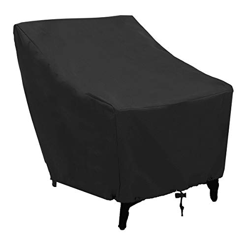 FLR Funda para silla para muebles de exterior, cuadrada, color negro, impermeable, 68,5 cm, cubierta ligera para muebles de jardín