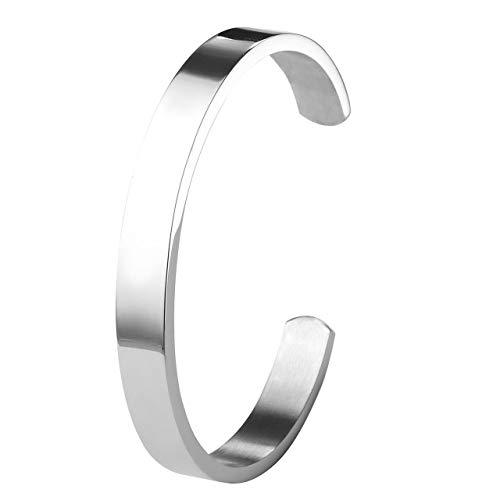 Personalized Master Armband Personalisiert - Edelstahl Armband Männer Frauen Armreif Damen Herren Armspange mit Gravur Silber Gold schwarz verstellbar Gravur (Silber-Damen)