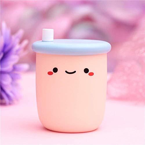 Lámpara de Noche Creativa, Linda Leche, té, Yogur, luz de Noche en Forma de Botella, lámpara de Noche portátil para niños pequeños para niñas, decoración del hogar, 1 Pieza (Milk Tea-B)
