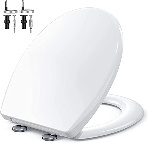 Sedile WC, MUJIUSHI Copriwater Universale O Forma con Chiusura Ammortizzata, montaggio rapido a 1 bottoni e cerniere in acciaio inox, Sistema di Fissaggio Aggiustabile,facile da installare e pulire