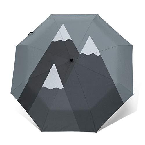 TISAGUER Paraguas automático de Apertura/Cierre,Cuadro de Arte Minimalista Pintado a Mano,montaña Nevada sobre Fondo Gris,Paraguas pequeño Plegable a Prueba de Viento