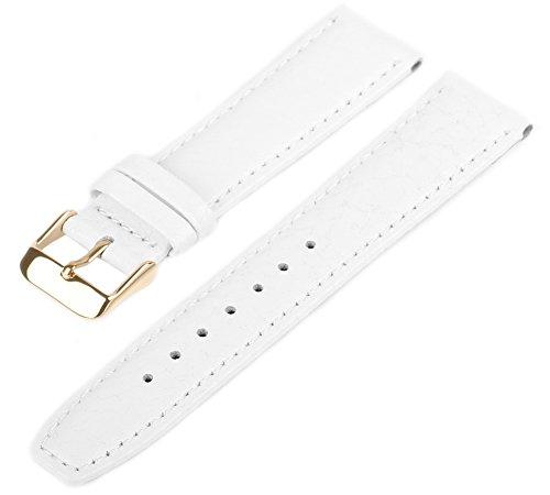 MARCHEL Lederarmband 20 mm WB50 weiß-Gold Genarbt für Armbanduhren