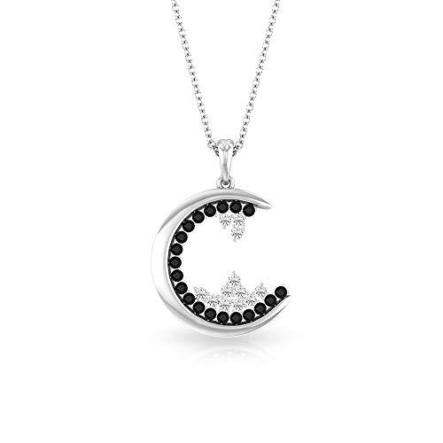 Collar con colgante de luna de diamante blanco y negro de 0,48 quilates, certificado IGI, collar con colgante de diamantes, cadena de aniversario de cumpleaños, 10K Oro blanco Con cadena